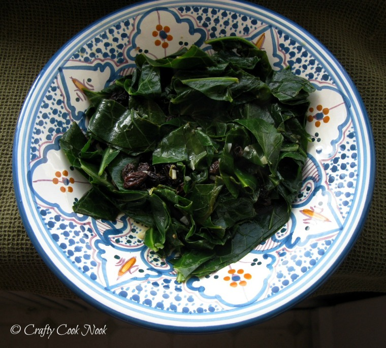 vegetarian times citrus collards with raisins