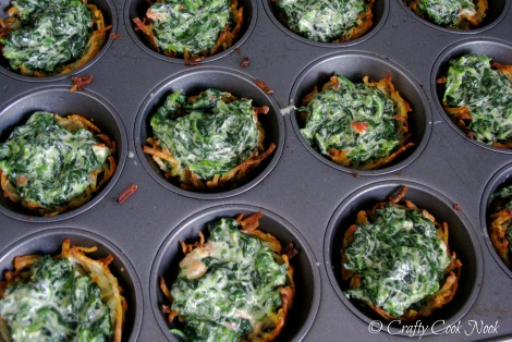 Spinach Cheese Hash Brown Nests