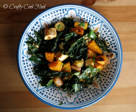 Miso-Curry Butternut Squash Kale and Pepitas