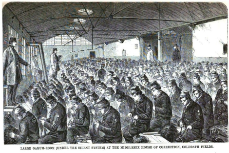 Coldbath Fields Prison, England, 1864. Google scan of 1864 book by Henry Mayhew & John Binny. Creative Commons image.
