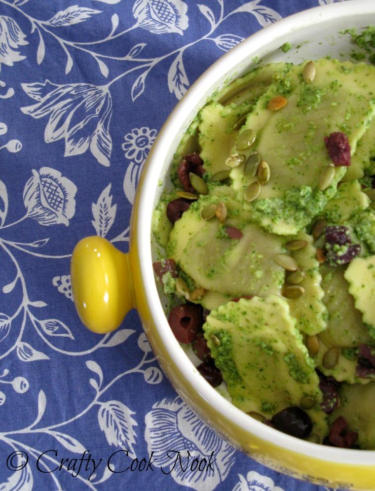 Warm Ravioli Salad with Cilantro Pesto