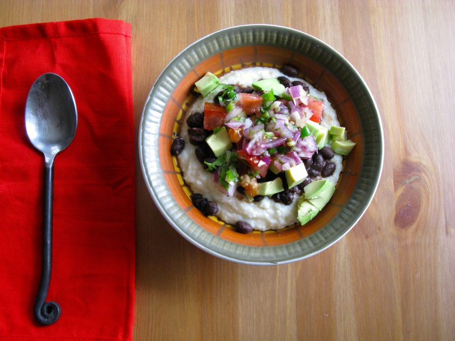 Cheese Grits with Black Beans and Avocado