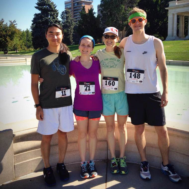 Readying for 5K. Cheesman Park.