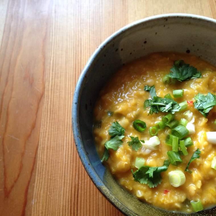Pumpkin Coconut Lentil Soup