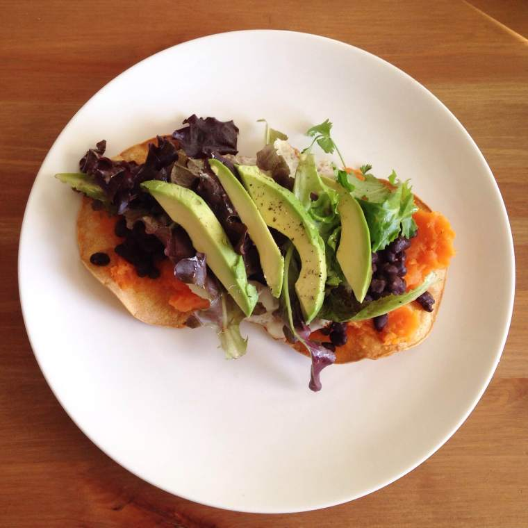 Sunny Side Up Yam and Black Bean Tostadas with Avocado