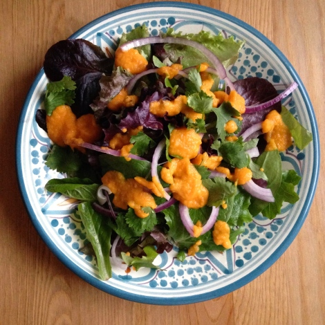 Greens with Roasted Carrot Cumin Dressing