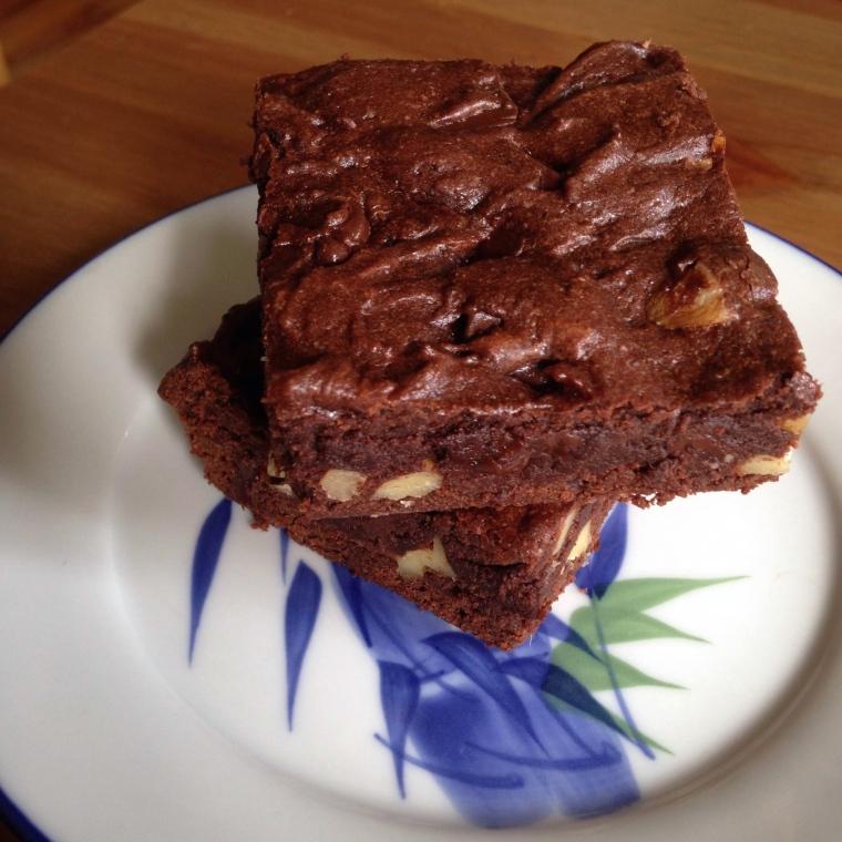 Double Dark Chocolate Walnut Brownies